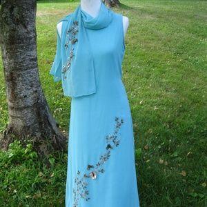 NWT Size S Nupur aqua embroidered maxi dress